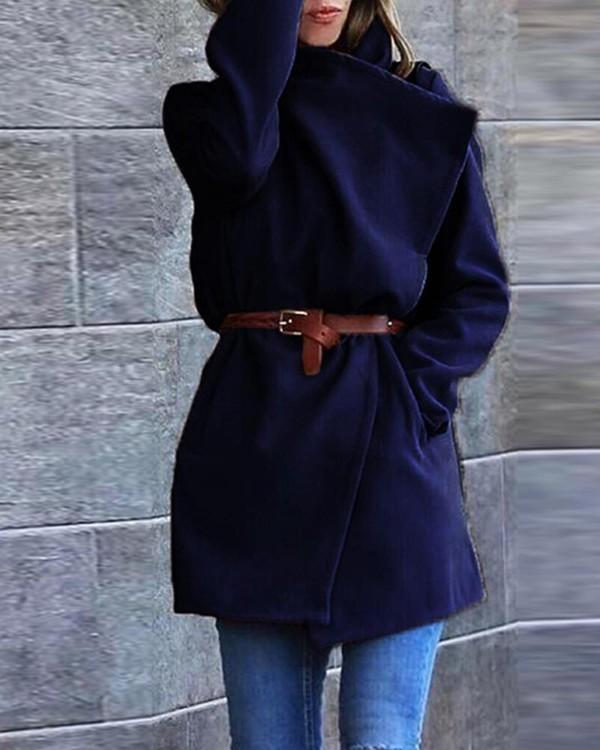 Solid FelledSeam Belted Wrap Coat