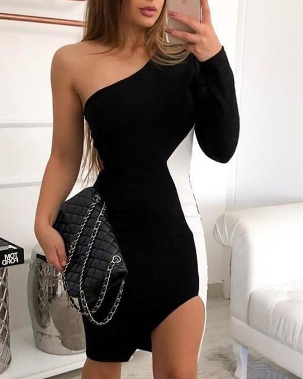 One Shoulder Colorblock Insert Slit Bodycon Dress