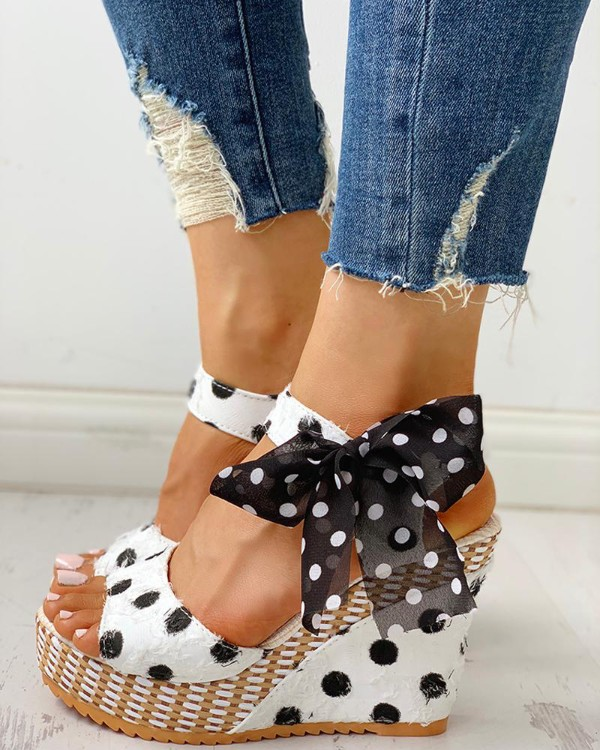 Dot Bowknot Design Platform Wedge Sandals