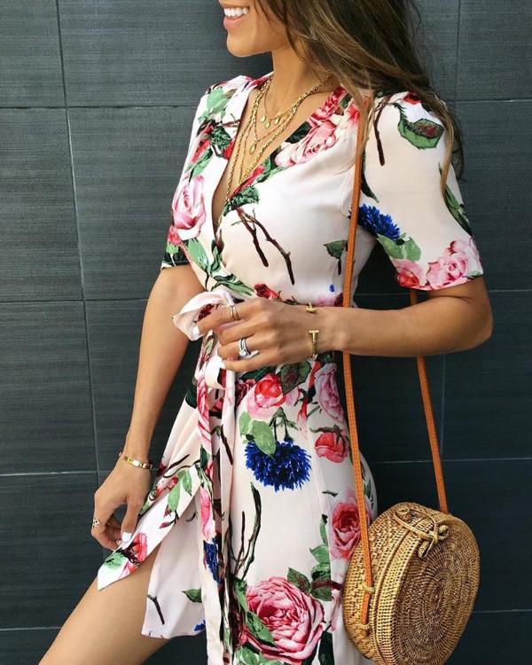 Floral Print V-Neck Wrap Casual Dress