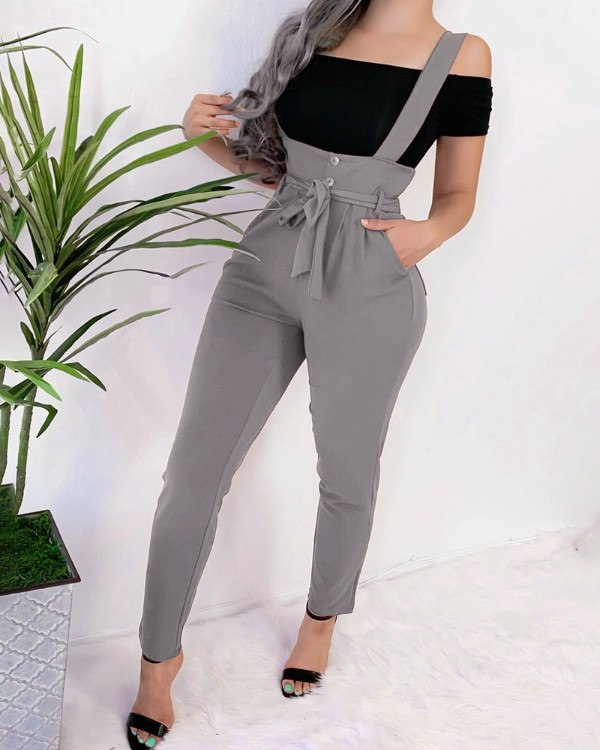 Solid High Wasit Casual Suspender Jumpsuit