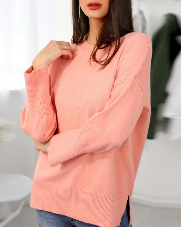 Solid Long Sleeve Side Slit Pullover Casual Sweater