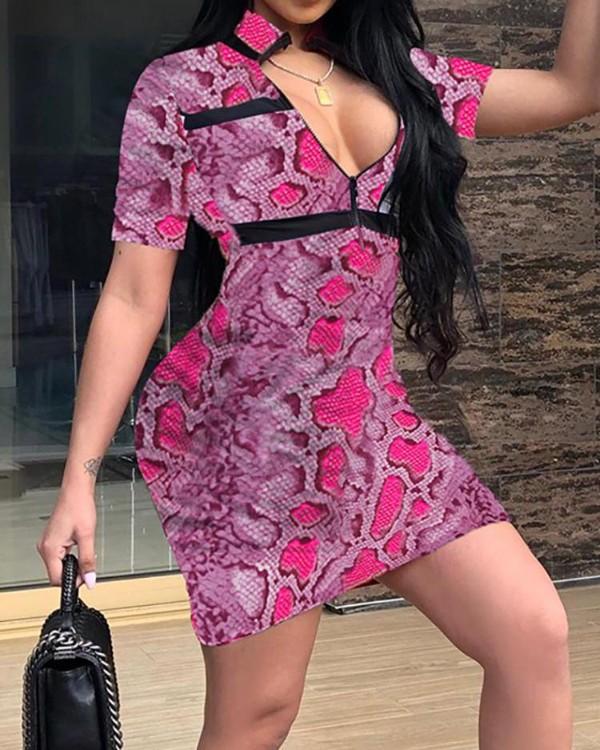 Plunge Snakeskin Print Bodycon Dress