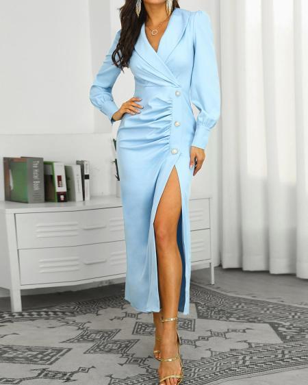 Button Detail Thigh Slit Blazer Dress