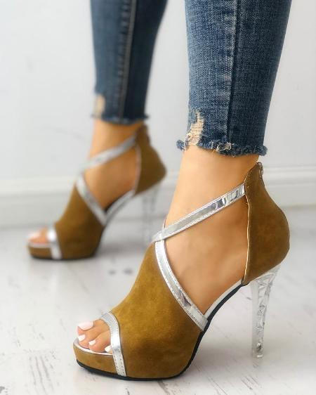 Suede Contrast Binding Thin Heeled Sandals