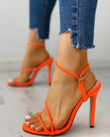 Open Toe Slingback Thin Heeled Sandals