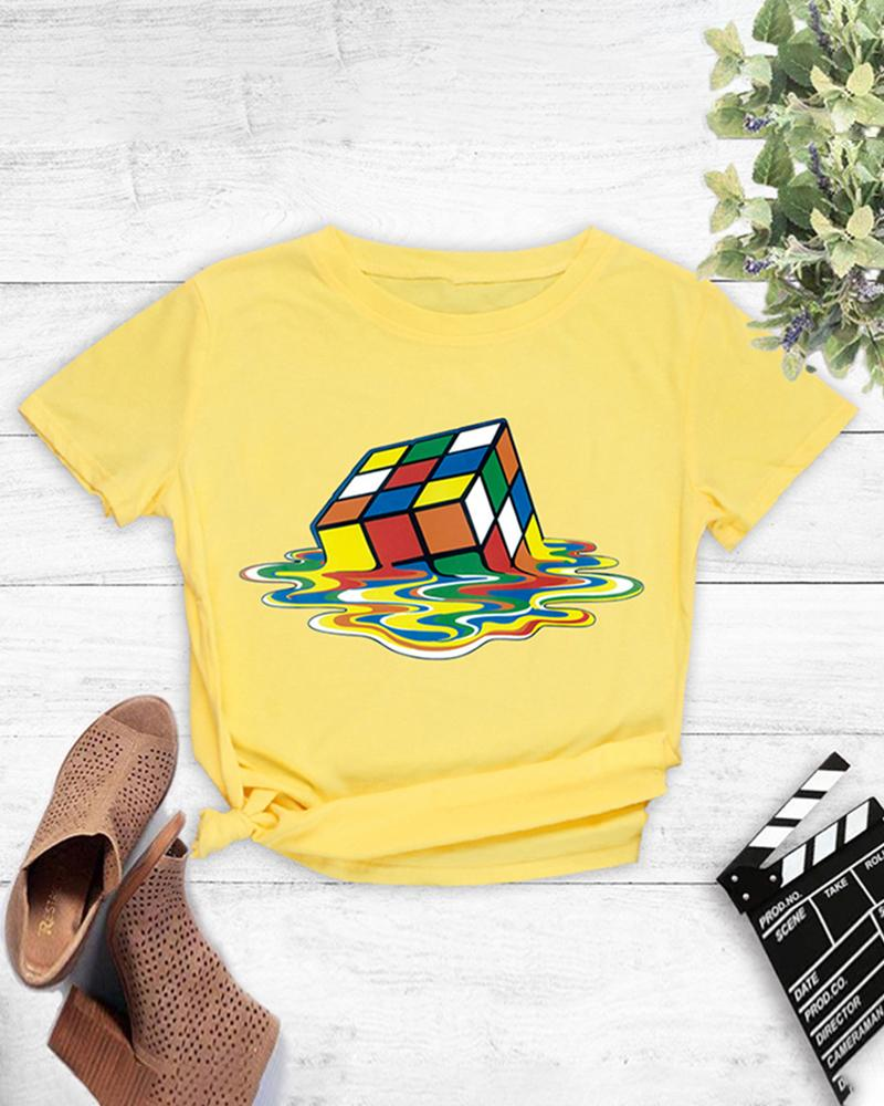 Cube Print Short Sleeve Casual T-shirt фото