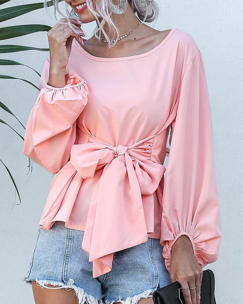 boutiquefeel / Blusa con cuello redondo y pajarita