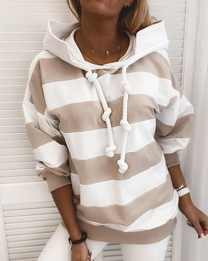 Striped Tape Colorblock Hooded Sweatshirt фото