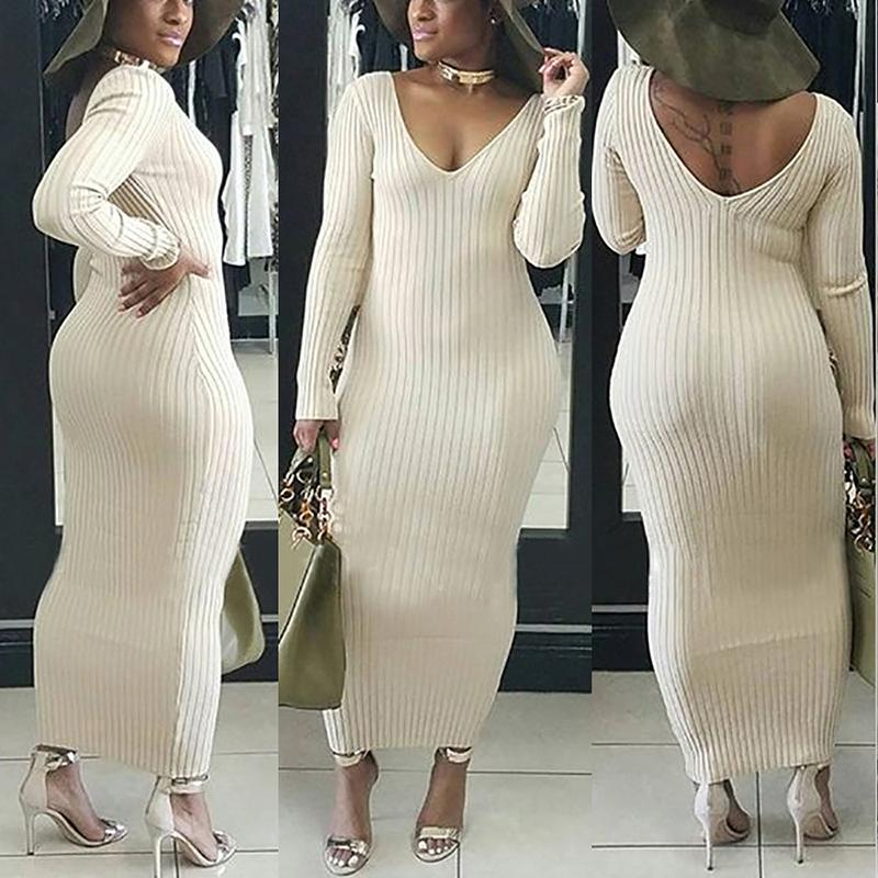 Slinky Double V Ribbed Maxi Dress