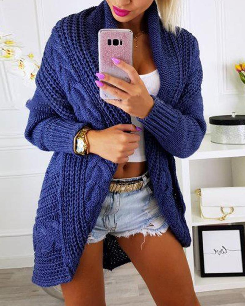 Solid Ribbed Knit Oversized Cardigan фото