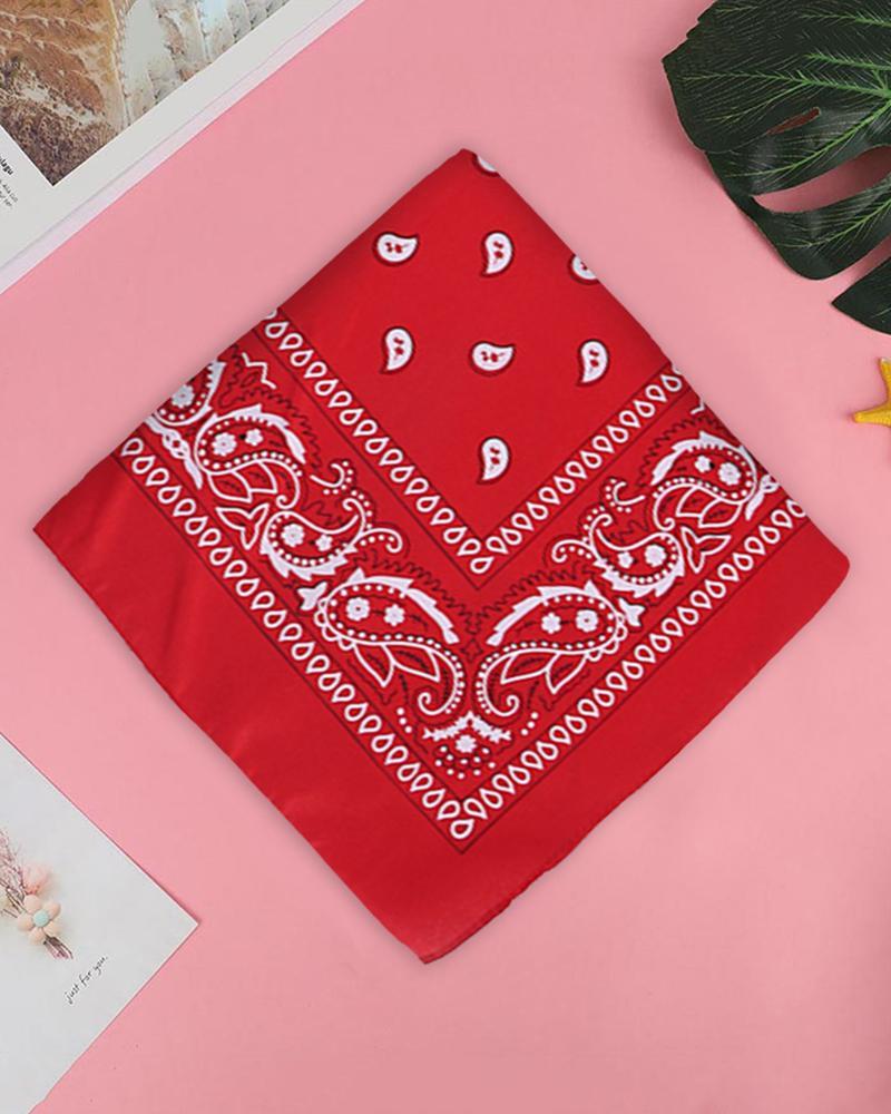 12PCS Paisley Cowboy Bandanas Head Wrap, Red