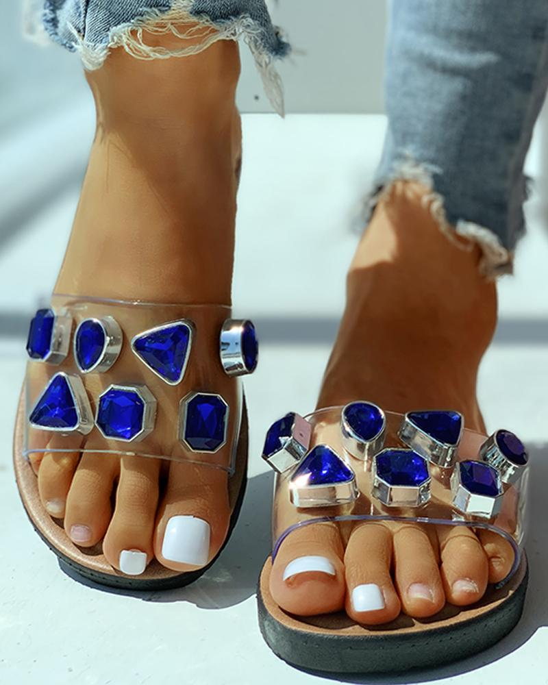 Open Toe Studded Flat Slipper фото