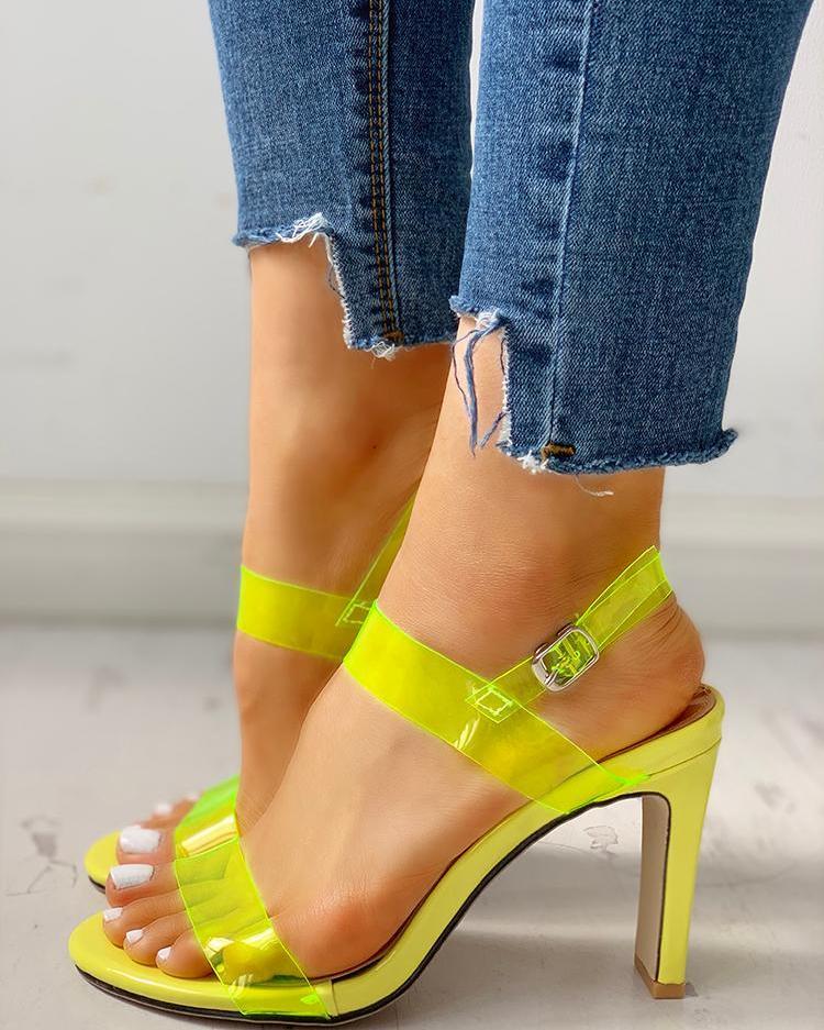 ivrose / Open Toe Transparent Strap Chunky Heeled Sandals