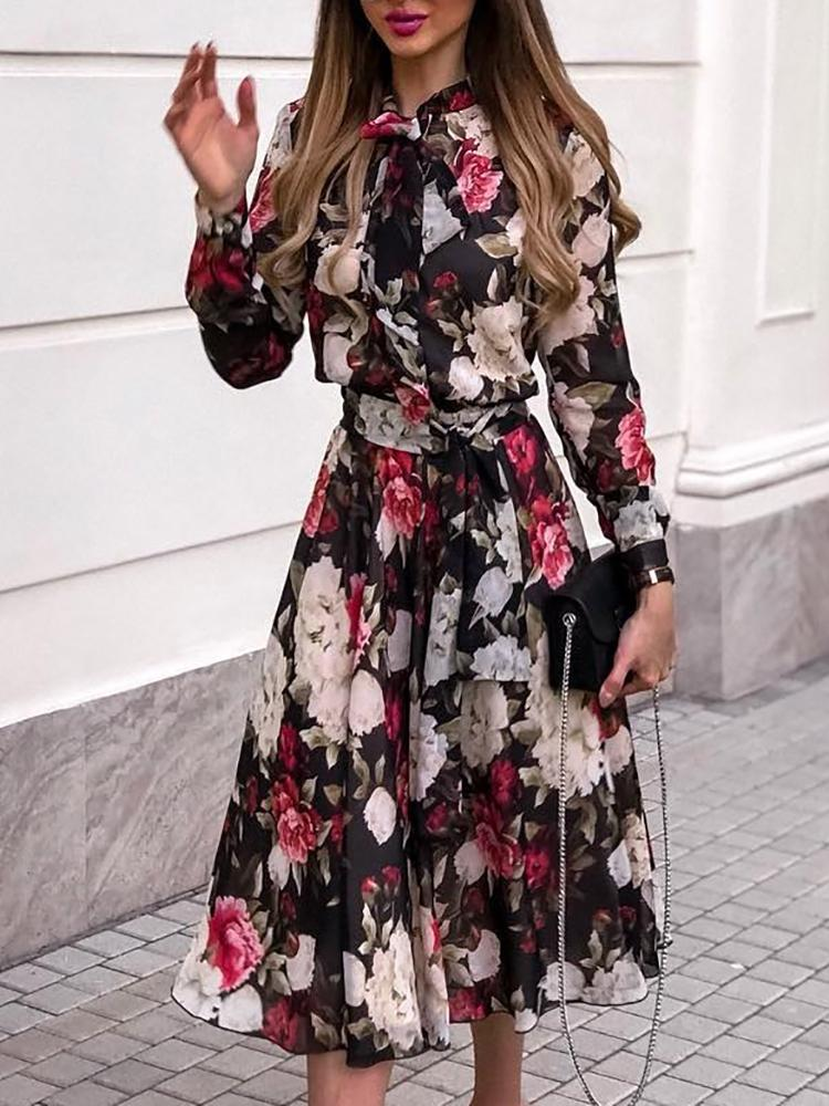 Floral Print Tie Neck Belted Chiffon Dress