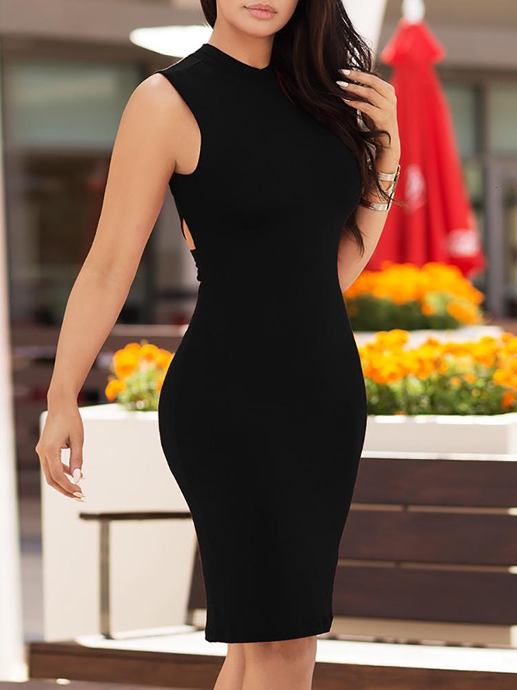 Alluring Bandage Cut Out Back Bodycon Dress