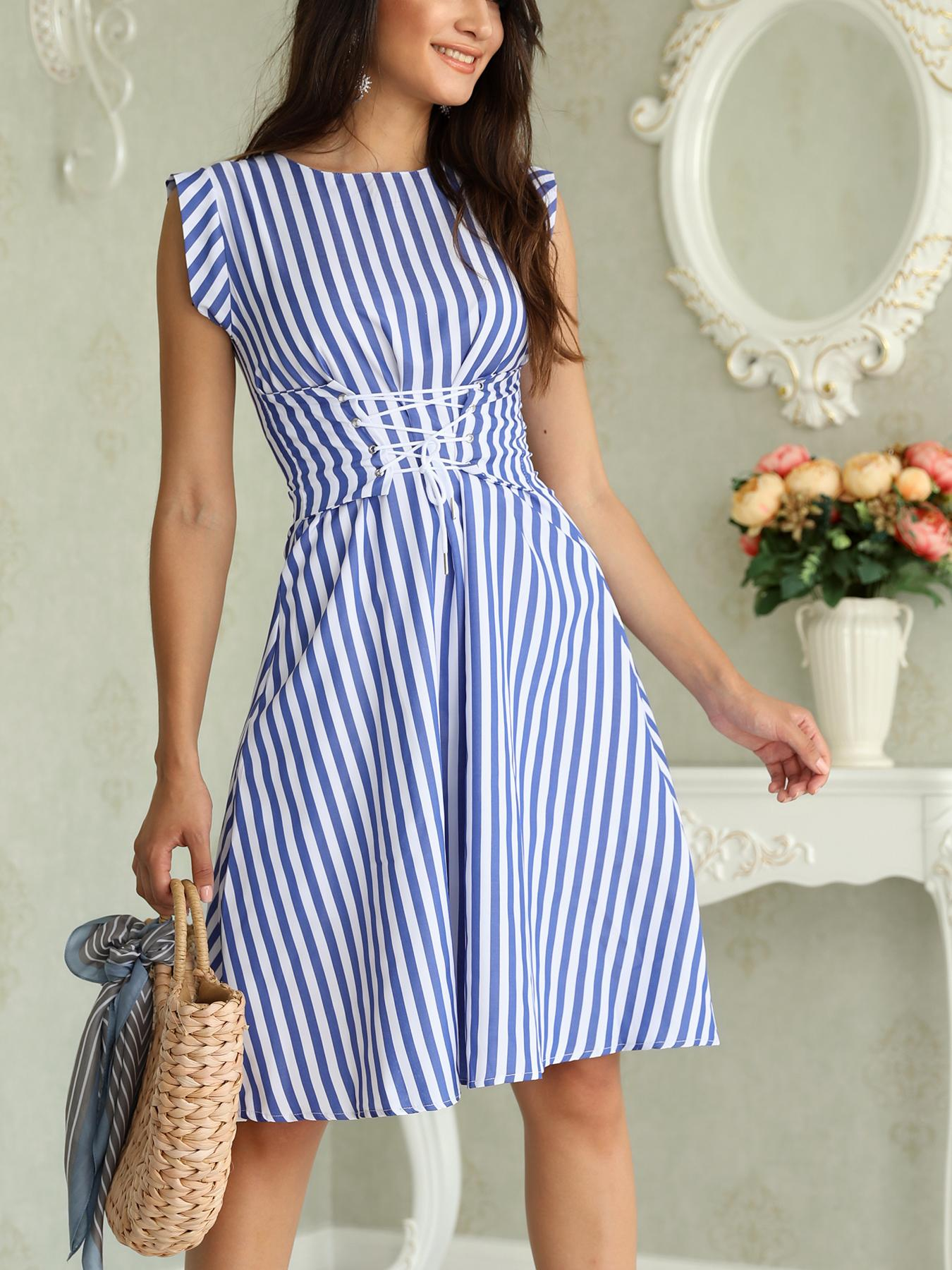 Stripes Sleeveless Lace-up Waist Casual Dress