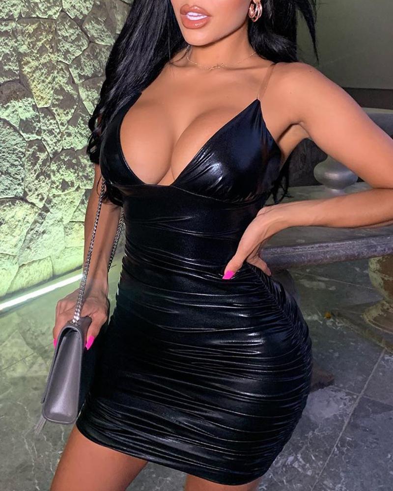 ivrose / Spaghetti Strap Solid Ruched Bodycon Dress