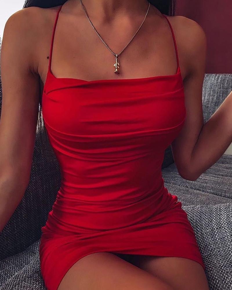chicme / Paixão sólida Slim Fit vestido de Cami