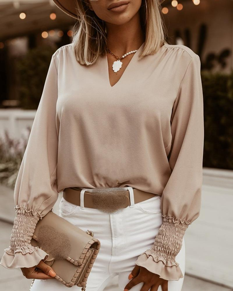 ivrose / Solid Lantern Sleeve Ruched Casual Blouse