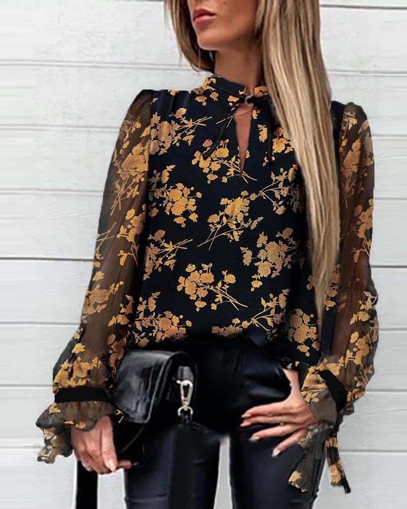 Floral Tied Neck Casual Blouse фото