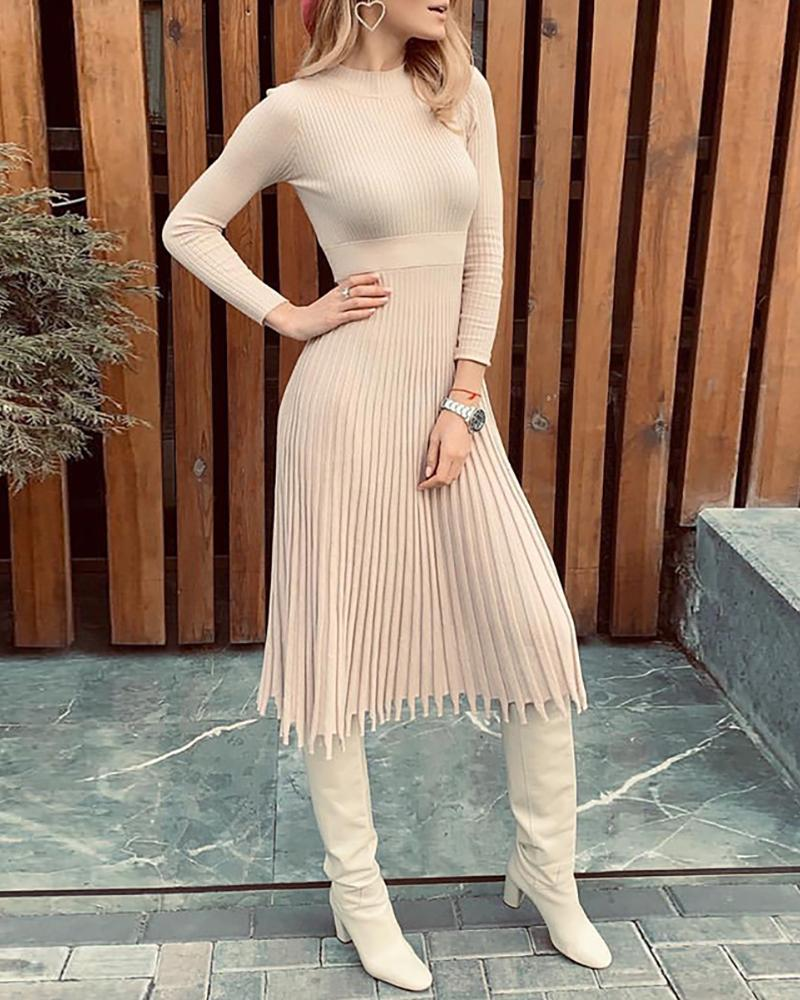 Solid Long Sleeve Knit Ruched Long Sleeve Dress фото