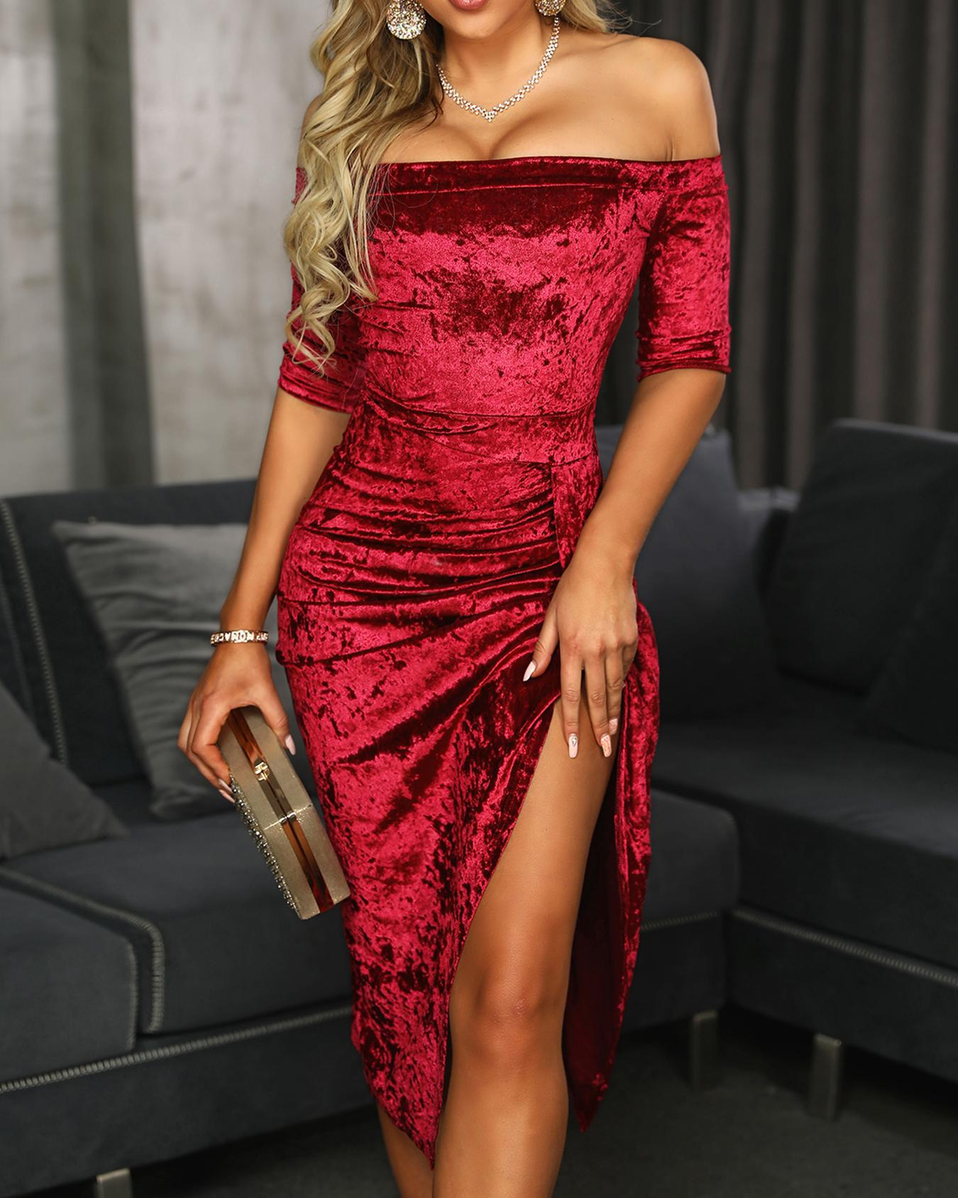 chicme / Velvet Off Shoulder Ruched Thigh Slit Dress