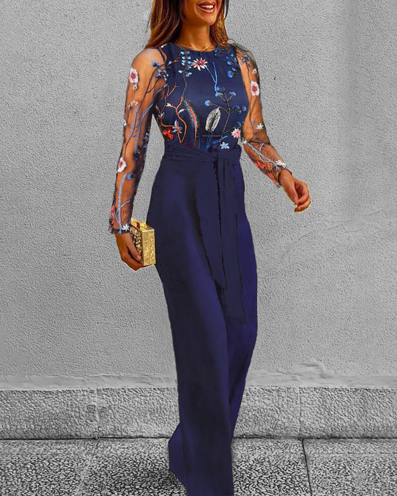 chicme / Mesh Floral Embroidery Jumpsuit