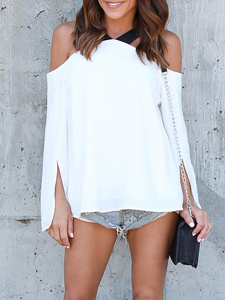 Black Bandage Cold Shoulder Slit Sleeve Blouse