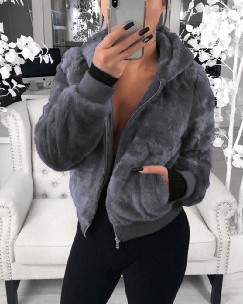 Plush Rabbit Fur Faux Fur Coat фото