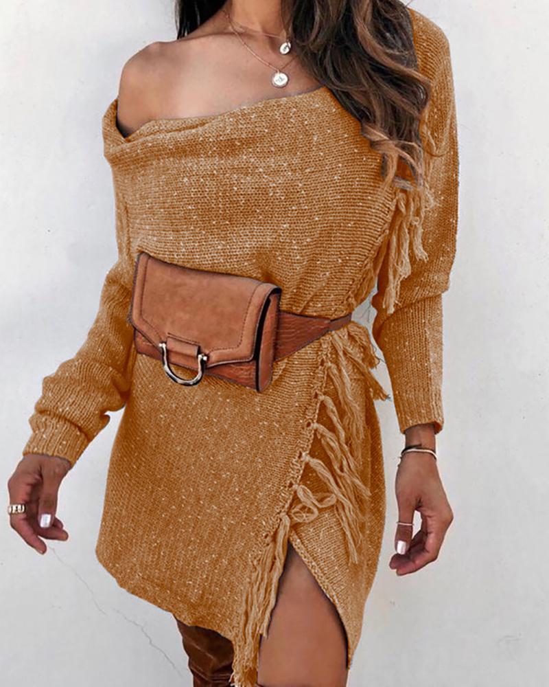 Solid One Shoulder Tassel Design Sweater Coat фото