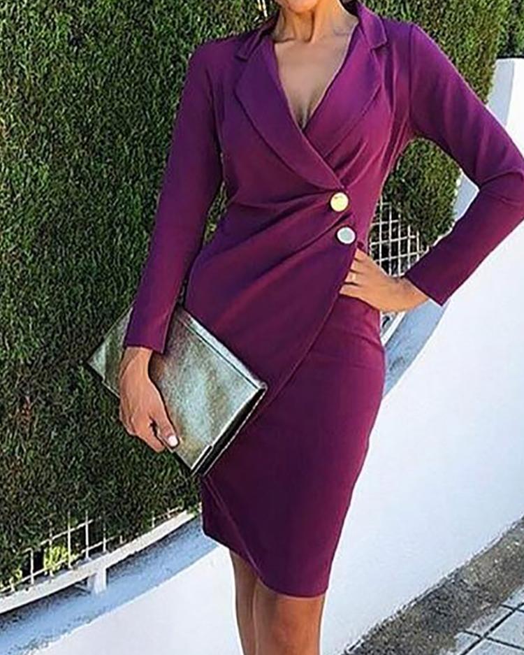 Ruched Button Design Blazer Dress фото
