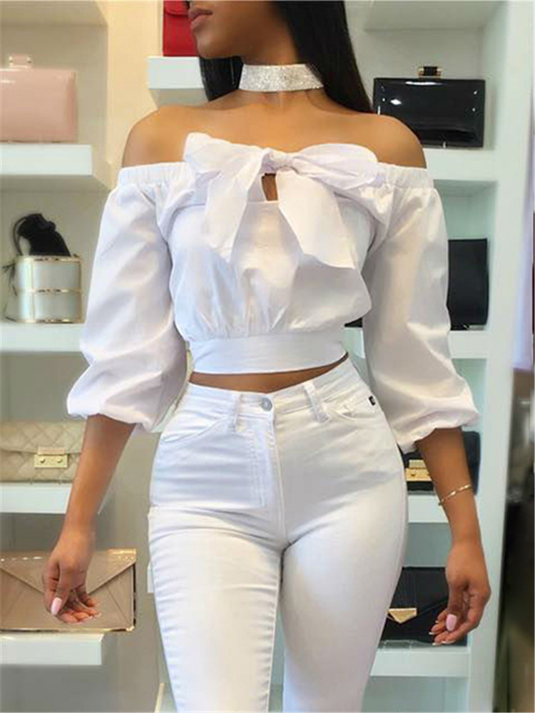 Fashion Bowknot Front Off Shoulder Crop Top