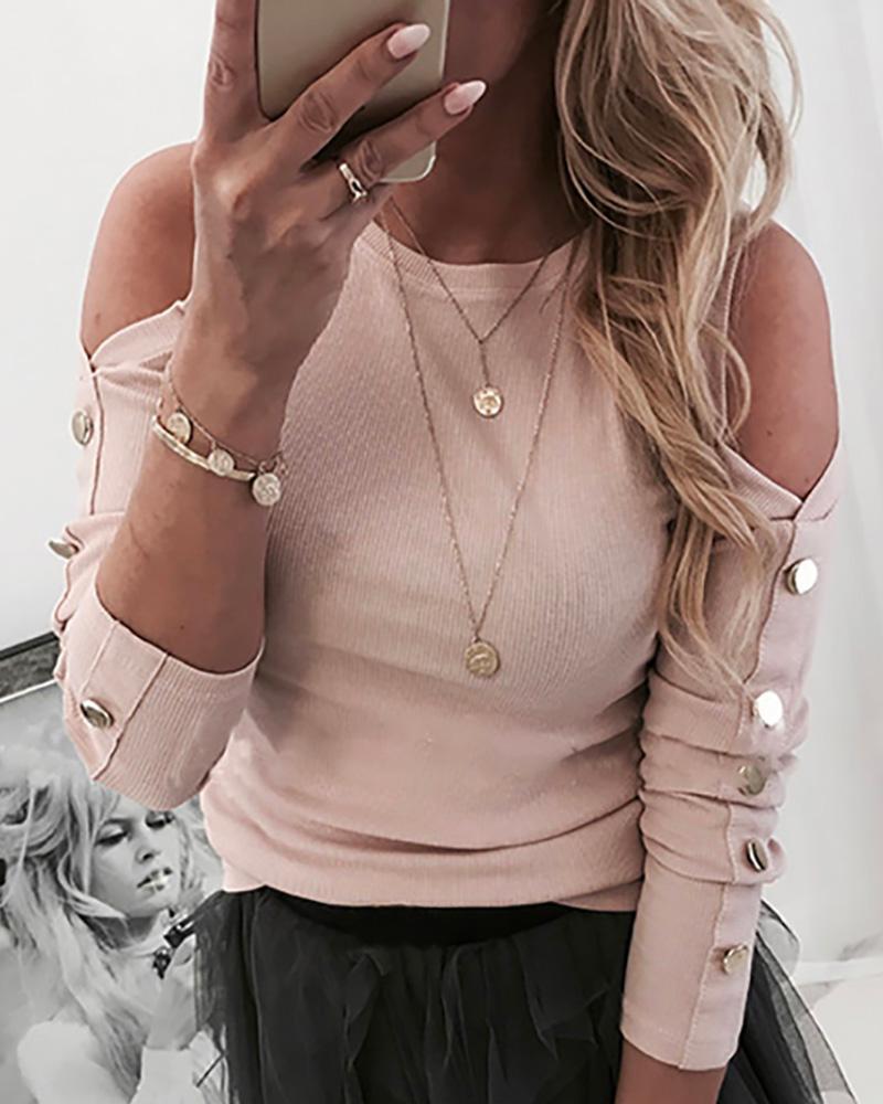 chicme / Blusa casual de manga larga abotonada con hombros fríos