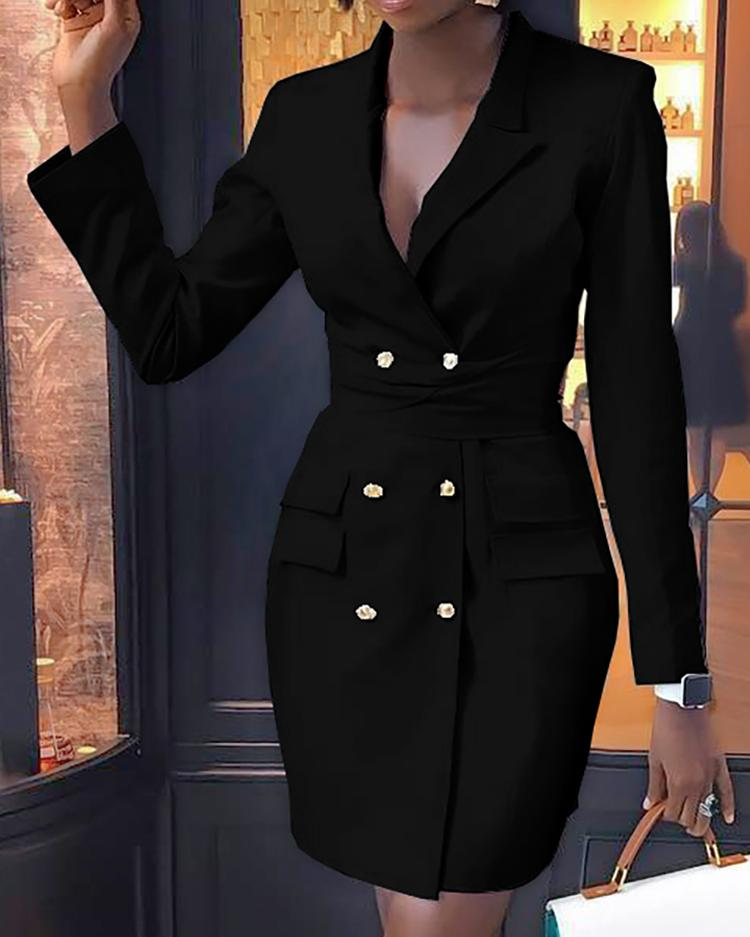 Double Breasted Long Sleeve Blazer Dress фото