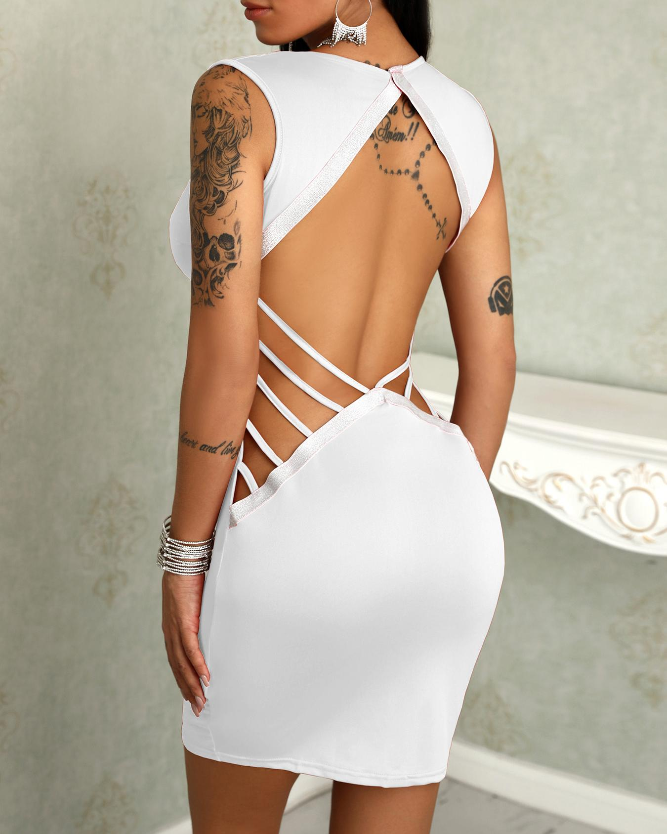 Deep V Ladder Open Back Bodycon Dress фото