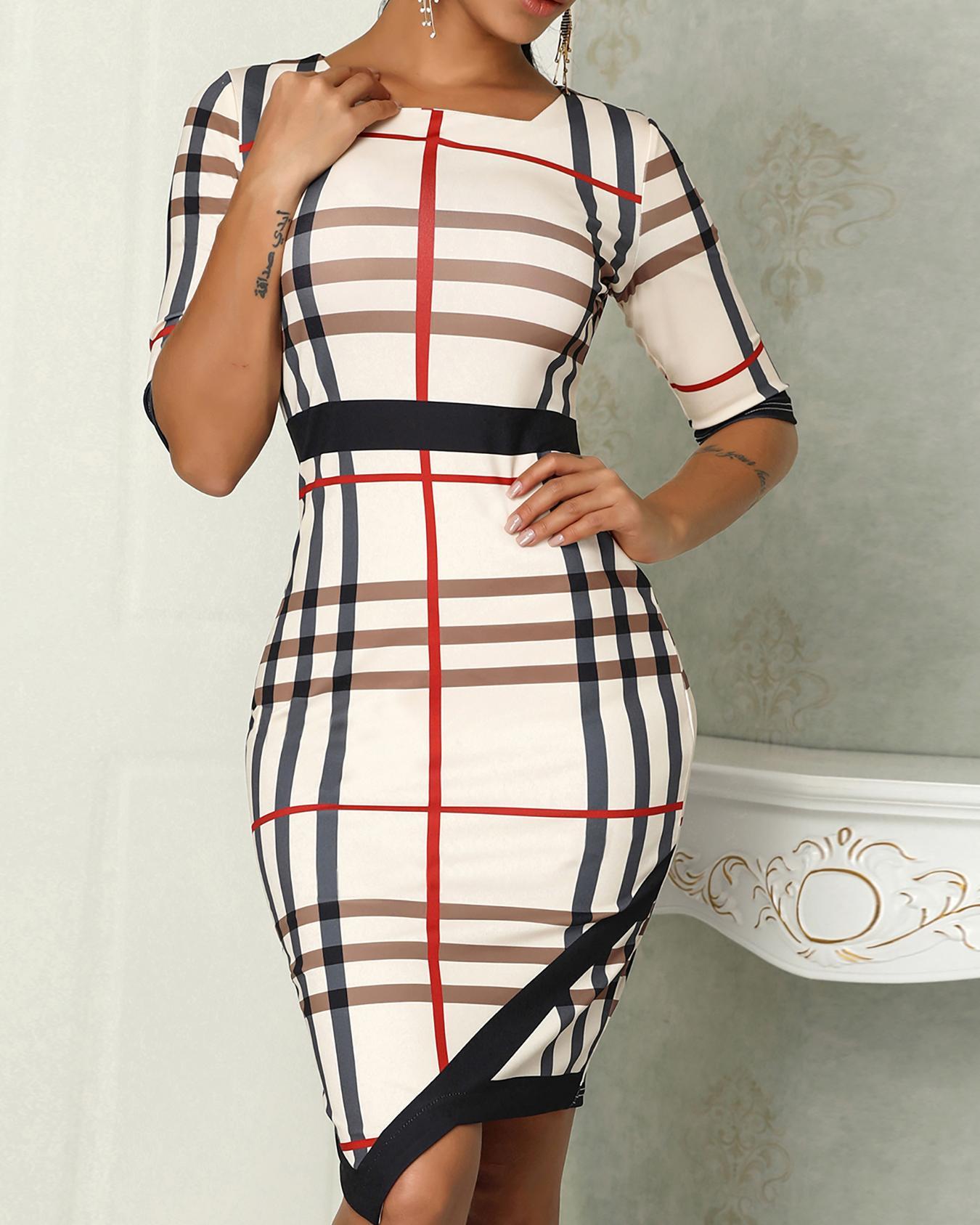 Plaid Print Contrast Binding Irregular Hem Dress