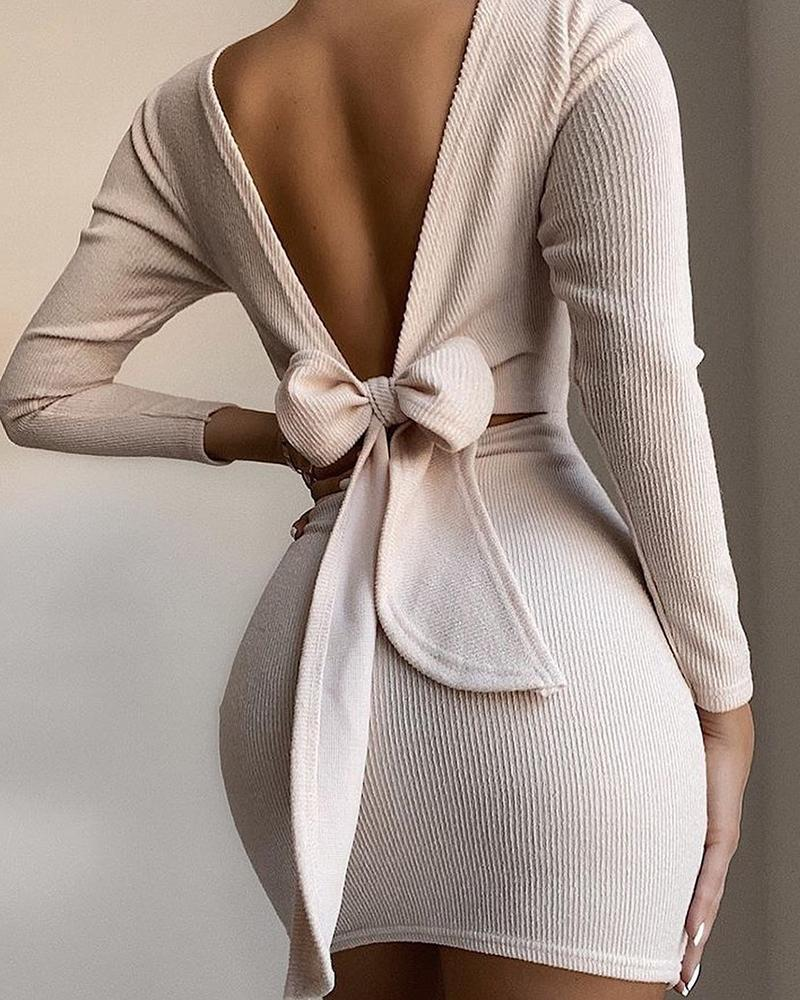 Open Back Knotted Long Sleeve Dress фото