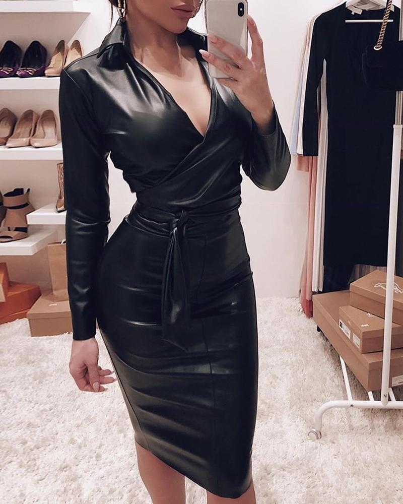 Plunge Bowknot Detail Long Sleeve Bodycon Dress, Black