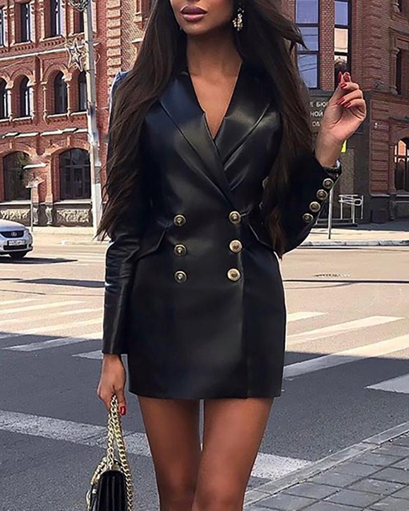 chicme / Gola entalhada trespassado vestido blazer pu