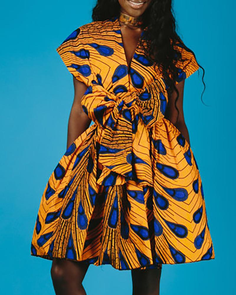 Multi-way Print Tight Waist Sleeveless Pleated Dress фото