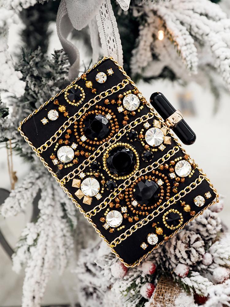 Chain & Gem-Studded Embellished Clutch Bag