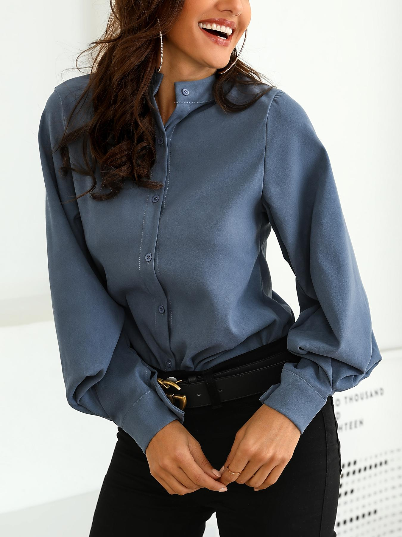 Button Through Lantern Sleeve Blouse