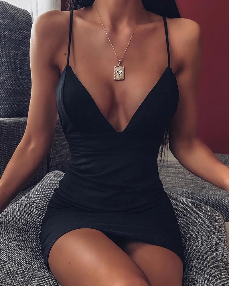 Deep V Bodycon Slip Dress фото