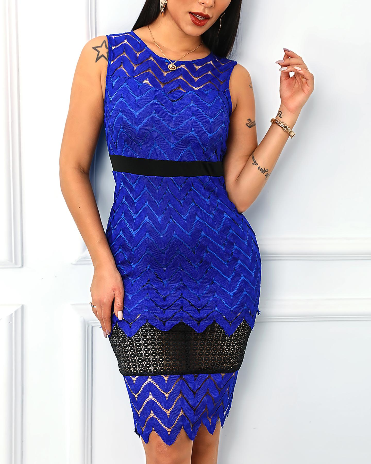 Sleeveless Hollow Out Colorblock Lace Dress фото