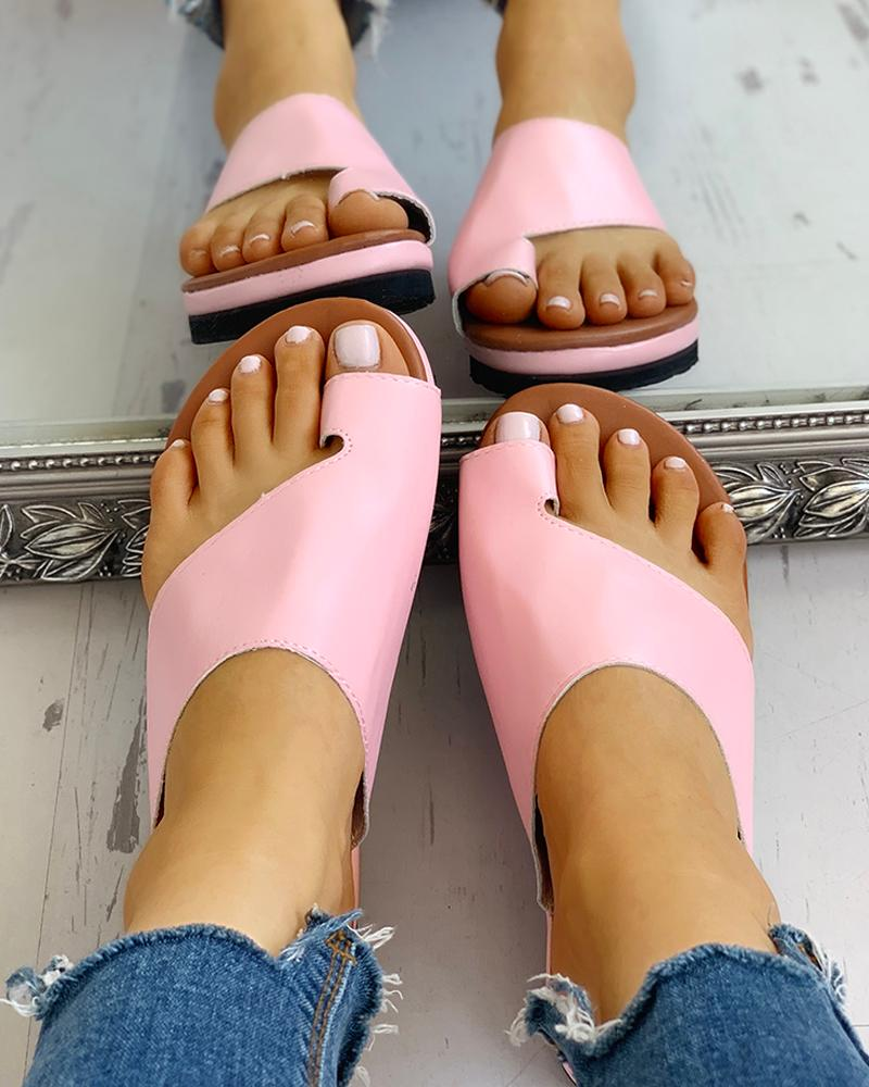 Toe Ring Cut Out Design Casual Sandals фото