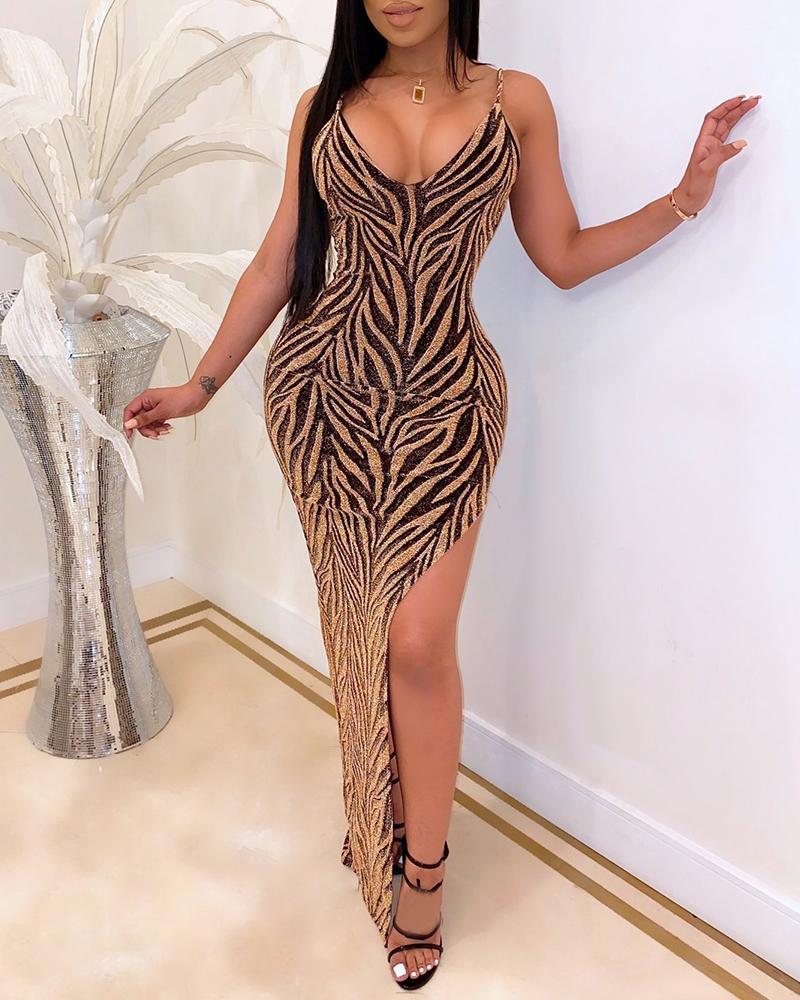 boutiquefeel / Vestido de corte alto con correa de espagueti con purpurina