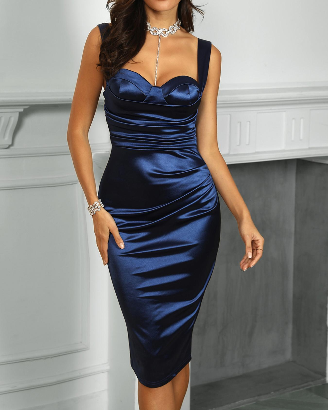 Thick Strap Ruched Slit Back Party Dress, Blue