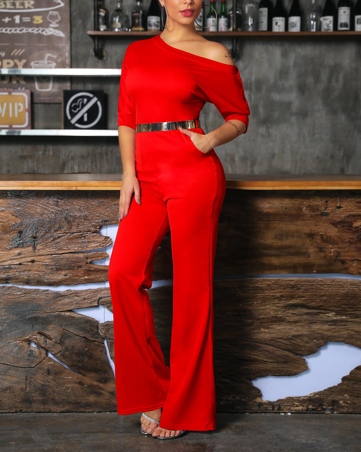 Solid One Shoulder Tied Waist Flared Jumpsuit фото