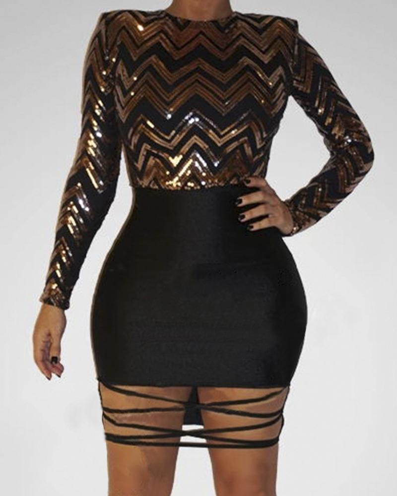 Striped Sequins Hollow Out Hem Bodycon Dress